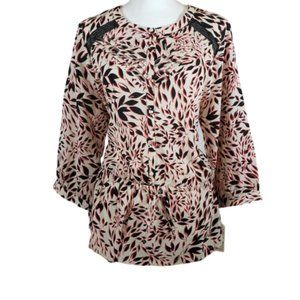 Isani Polyester Multi Floral Button Down Top XL